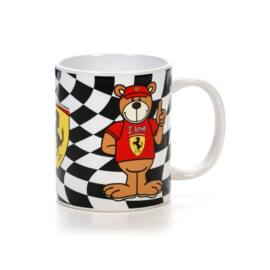 """Ferrari bögre """"Chequered Flag Teddy"""" fekete-fehér"""