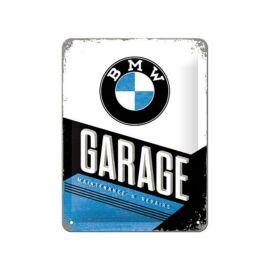 """BMW dombornyomott fémplakát 15 x 20 cm """"GARAGE"""""""