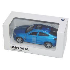 Bmw X6 M kék metál hátrahúzós autó 1:42 (11 cm)