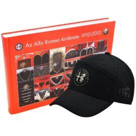Alfa Romeo könyv + Alfa Romeo 110 anniversary baseball sapka, fekete-ezüst 'emblem line'