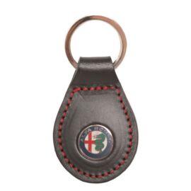 """Alfa Romeo bőr kulcstartó Marchio """"fekete"""""""