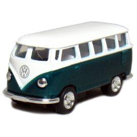 1962 Classical Volkswagen Samba Bus zöld hátrahúzós autó 1:64