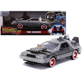 Back To The Future Delorean  & lights part 3 TIME MACHINE modell autó 1:24