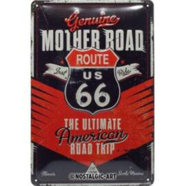 """Route 66 dombornyomott fémplakát """"Mother road"""" 20 x 30 cm"""