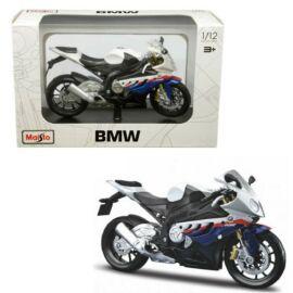 BMW S1000RR fehér/kék/piros modell  1:12