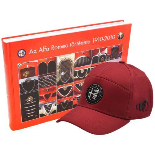 Alfa Romeo könyv + Alfa Romeo 110 anniversary baseball sapka, piros-ezüst 'emblem line'