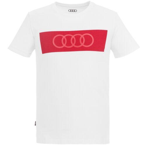 Audi férfi póló, ringe 2020, fehér-piros