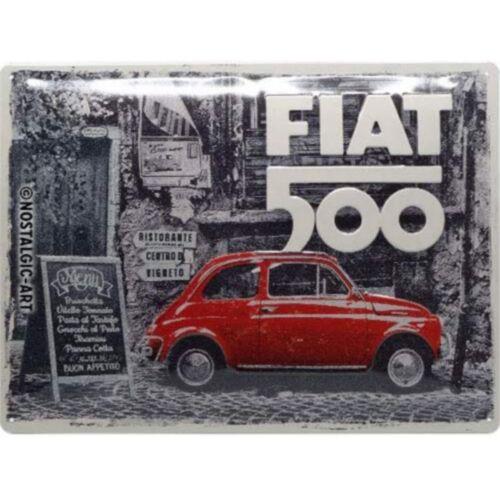 Fiat 500 dombornyomott fémplakát 30 x 40 cm