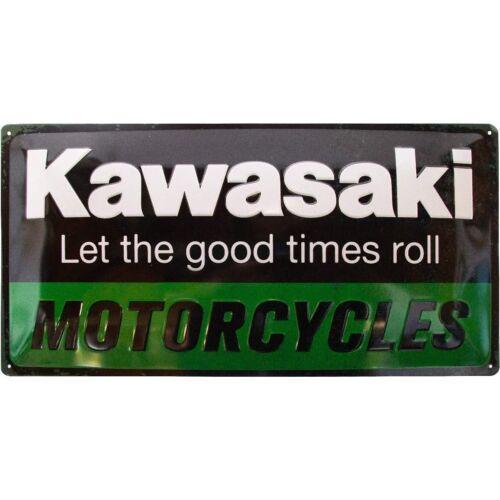 Kawasaki dombornyomott fémplakát 25 x 50 cm