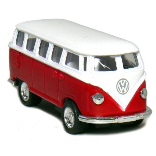 1962 Classical Volkswagen Samba Bus piros hátrahúzós autó 1:64