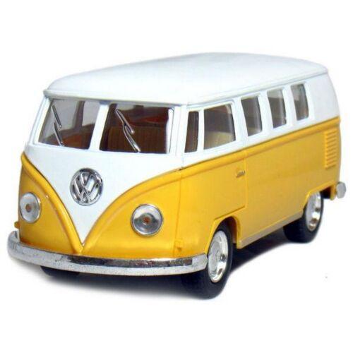 1962 Classical Volkswagen Samba Bus sárga hátrahúzós autó 1:64
