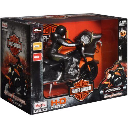 "Harley Davidson XL 1200N ""fekete/narancs"" R/C távirányítós motor 1/8 méret"